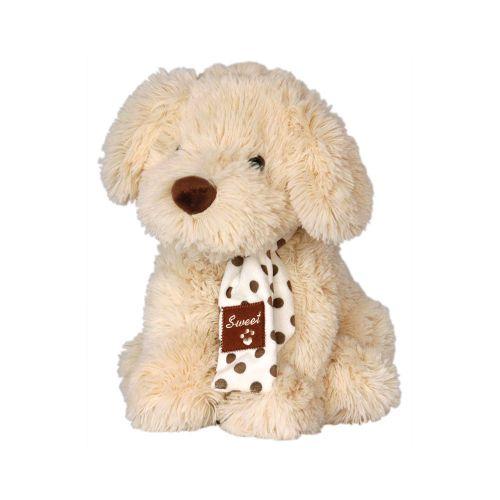 Плюшено бежово куче с шал 30 см. 030200