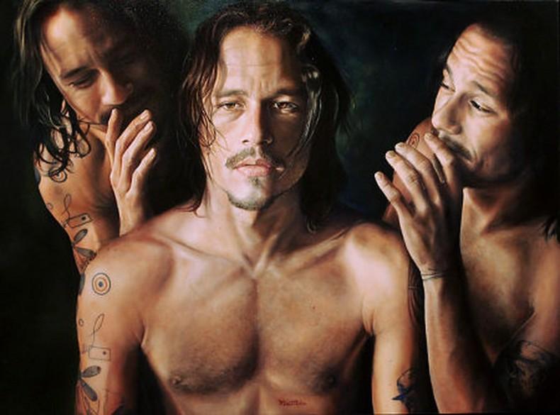 В своя картина художник, близък приятел на Хийт, е уловил чувствата на актьора през последните дни от живота му.